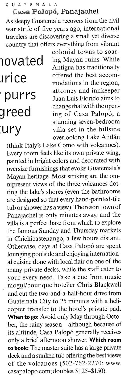 Condé Nast Traveler, May 2001