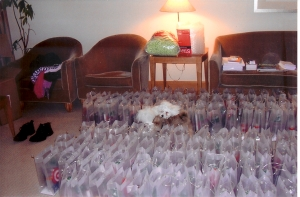 Frida helps stuff gift bags in my suite at L'Ermitage Beverly Hills