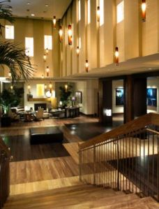 Hotel Palomar lobby in its retro-chic
